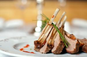 Lamb meat sliced