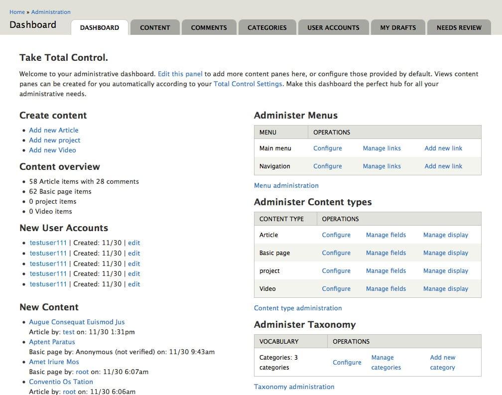 drupal dashboard - wordpress vs joomla vs drupal