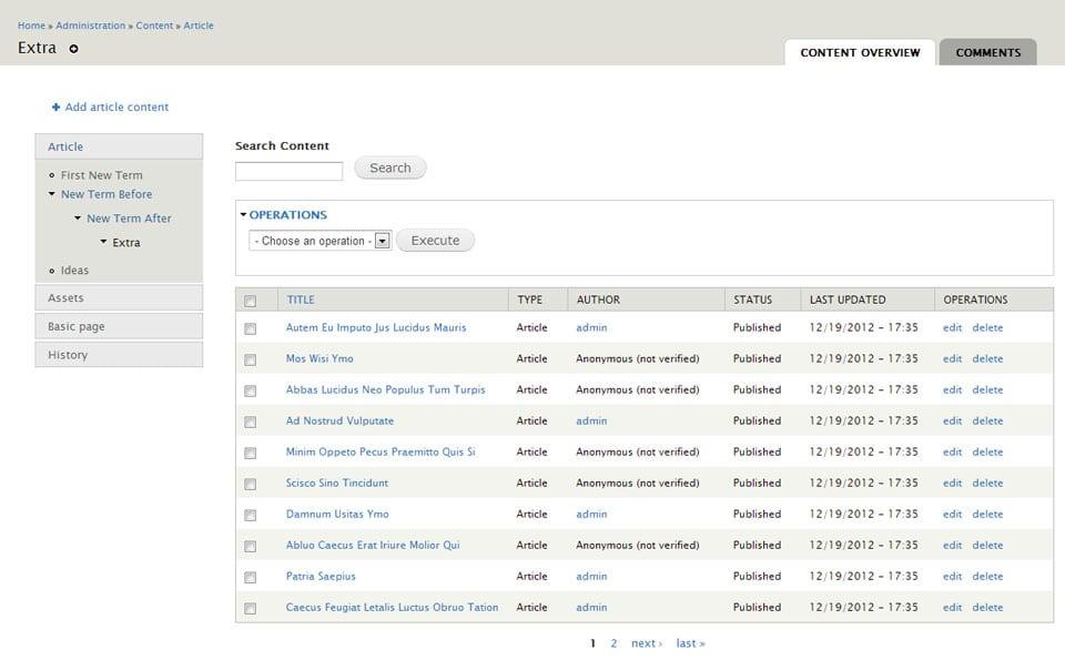 Content Management in Drupal