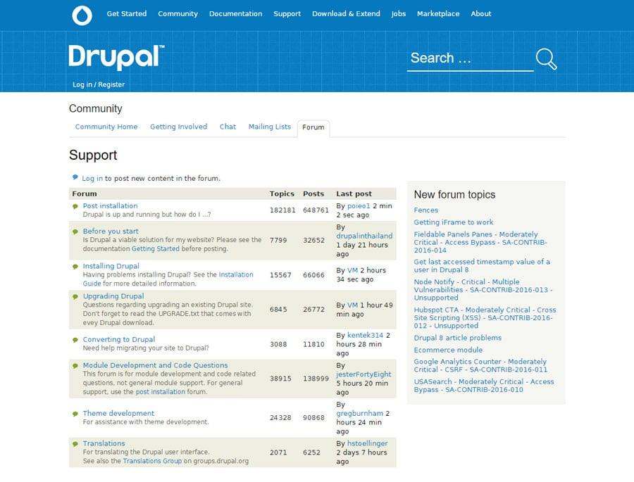 Drupal's Support Forum