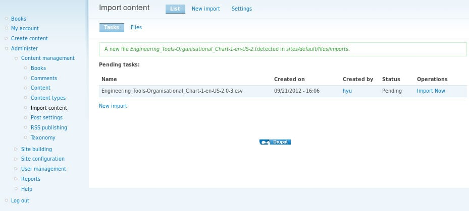 Importing Content in Drupal