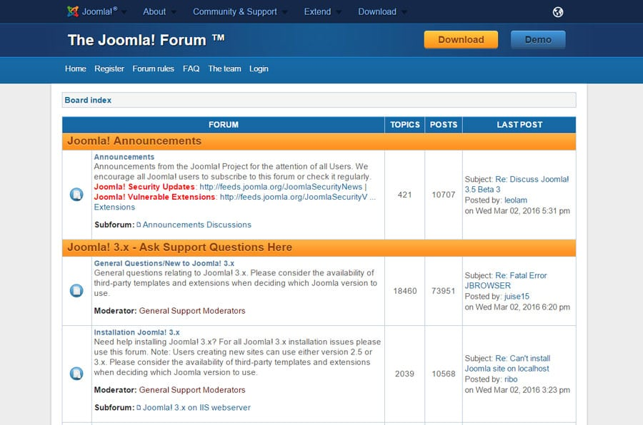 Joomla's Support Forum