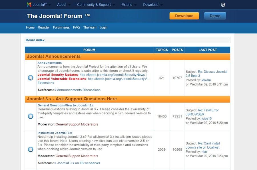Joomla's Support Forum