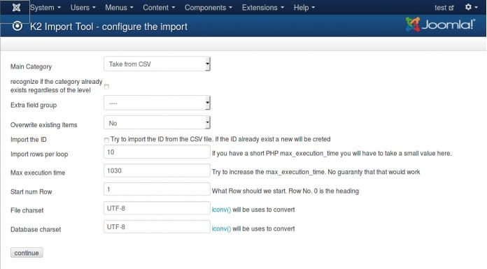 Using the K2 Extension to Import Content in Joomla
