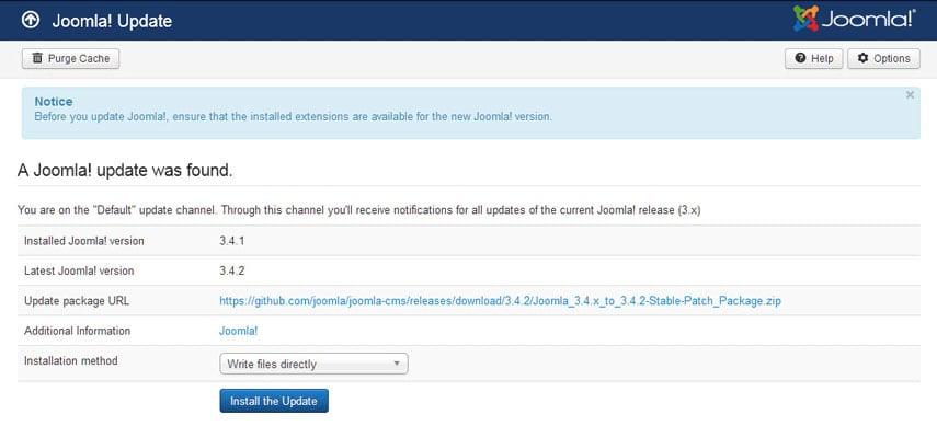 Joomla's Update Screen
