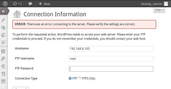An Error Message in WordPress