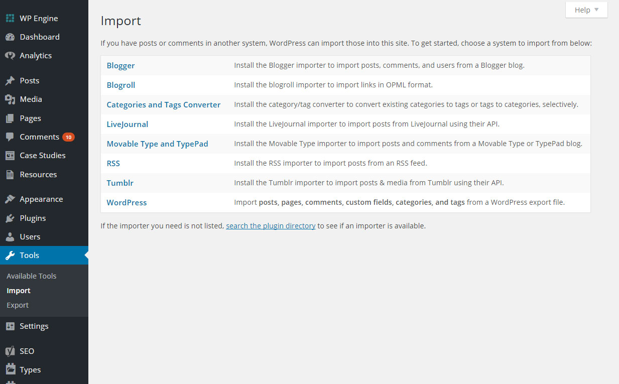 Built-In Import Types in WordPress