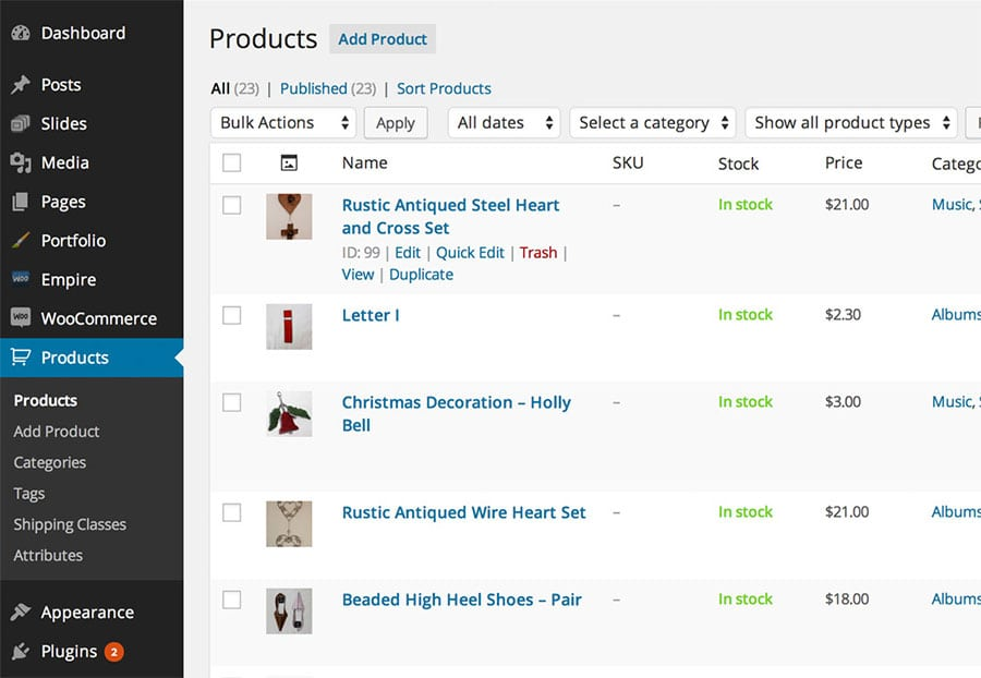 WooCommerce Product Management in WordPress