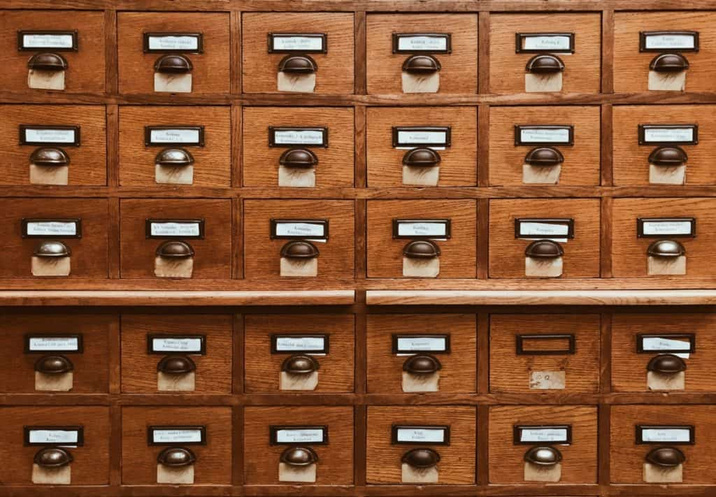 close up view of a card catalog in a library.